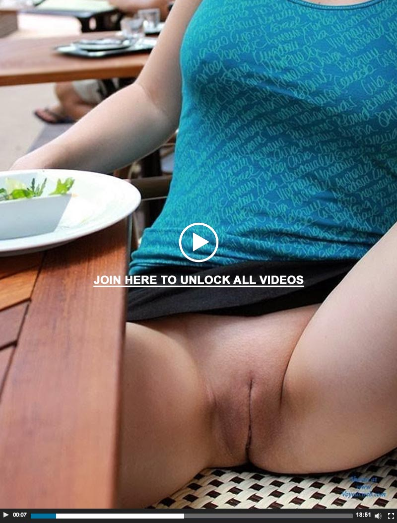 Horny wife shows pussy at restaurant - Real public nudity videos